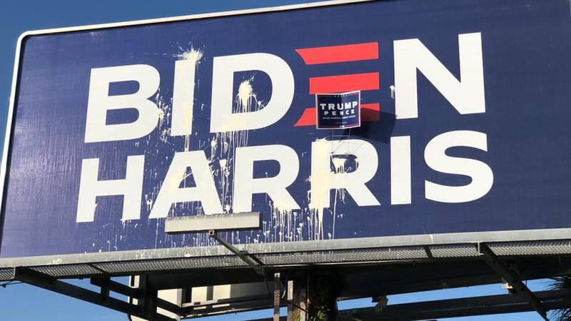 Vandalized political billboard in Franklin Co., FL