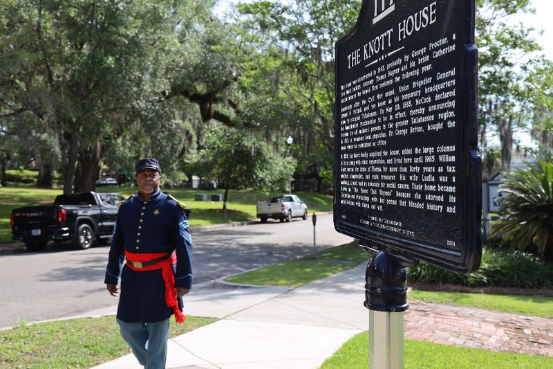Jarvis Rosier, a reenactor from the 2nd Infantry Regiment of the United States Colored Troops,...