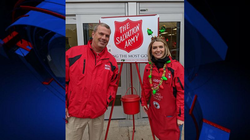 WCTV's Abby Walton and Mike McCall take part in WCTV's Red Kettle Takeover in 2019.