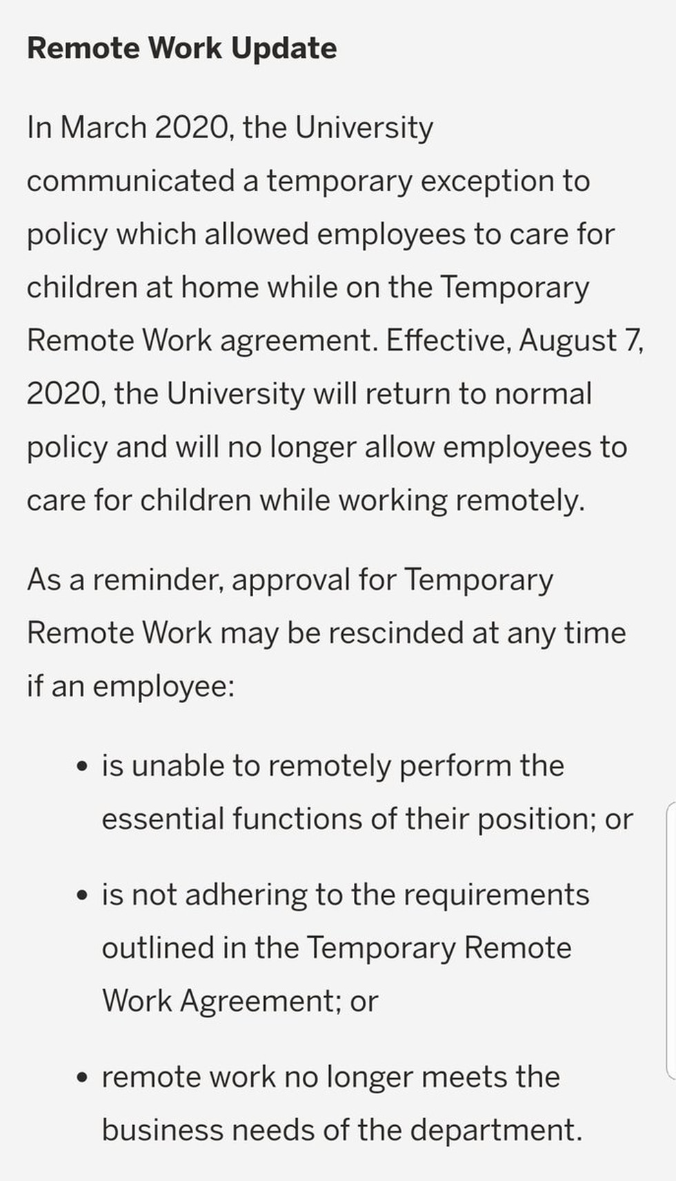 FSU Remote Work Memo from 6/27