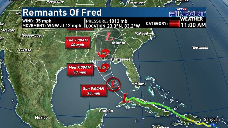 Remnants of Fred - Saturday, Aug. 14 11 a.m. advisory