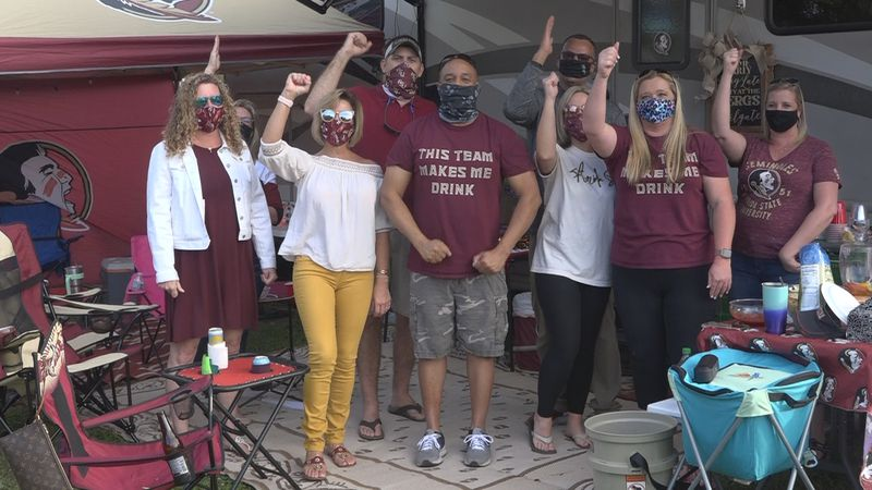 FSU fans enjoying food and drinks after Saturday's game against Clemson was cancelled.