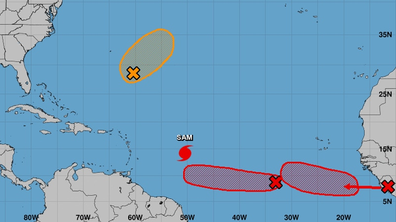 Sam had maximum sustained winds of 130 mph, making it a Category 4 hurricane.