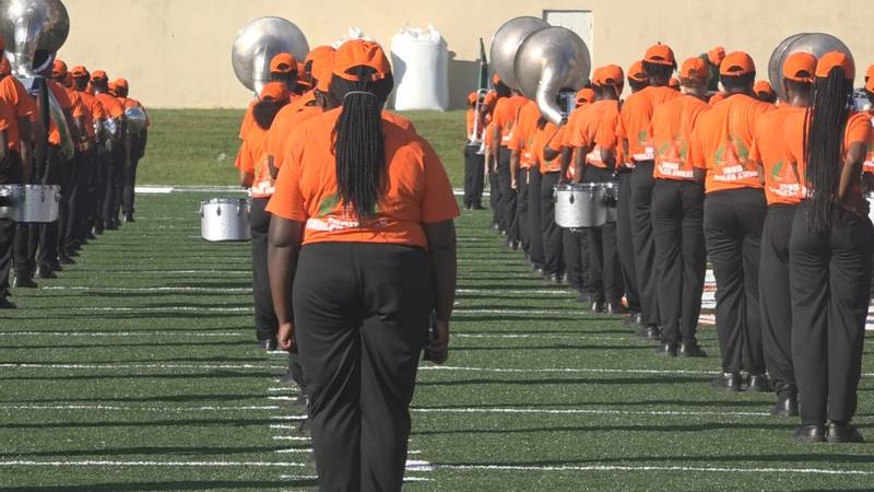 FAMU Marching 100 practices for the first time on their new field.