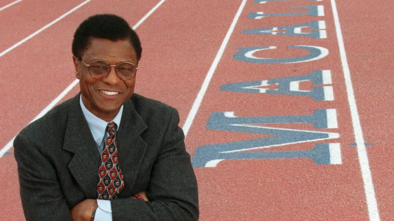Irv Cross poses at Macalester College in St. Paul, Minn., in this April 8, 1999, file photo....