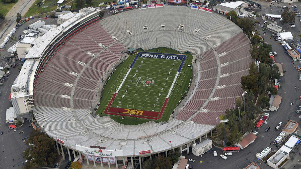 FILE - This Jan. 2, 2017, file pool photo, shows an aerial view of the empty Rose Bowl stadium...