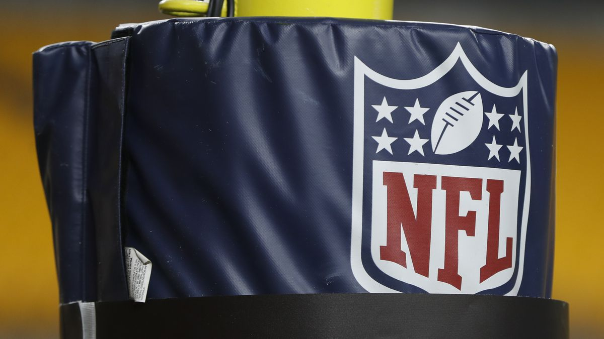 The NFL logo NFL is on the goal post at Heinz Field before an NFL football game between the Pittsburgh Steelers and the Buffalo Bills, Dec. 15, 2019, in Pittsburgh.