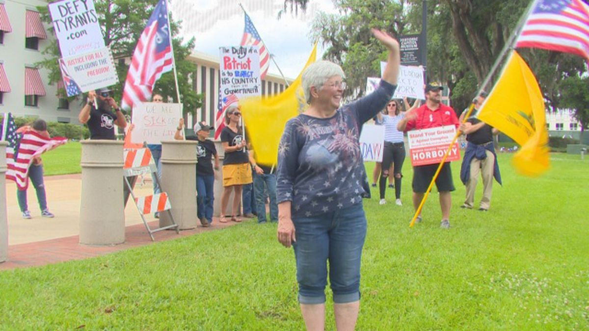 Debbie Gunnoe leads protesters in front of the Florida State Capital in hopes to re-open the...
