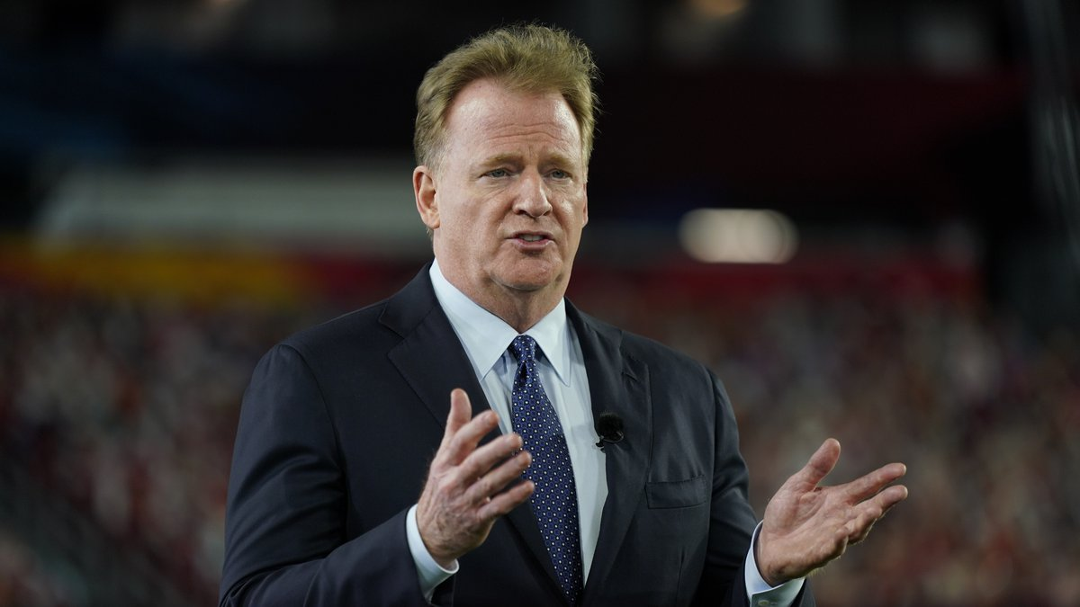 FILE - Commissioner Roger Goodell gestures during the NFL Honors ceremony as part of Super Bowl...