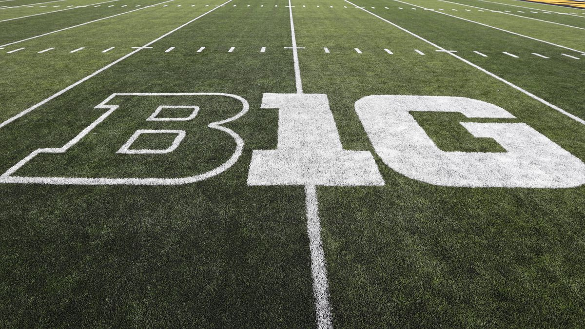FILE - In this Aug. 31, 2019 file photo, the Big Ten logo is displayed on the field before an NCAA college football game between Iowa and Miami of Ohio in Iowa City, Iowa.