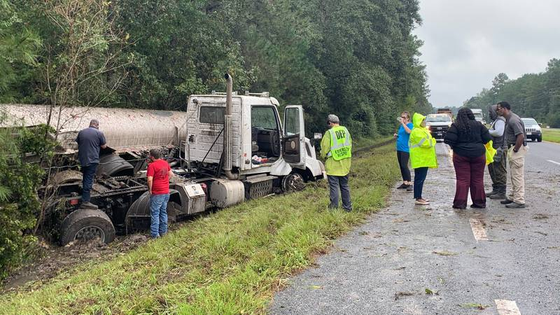 The Florida Highway Patrol is on the scene of a crash involving a rolled-over semi-truck and...