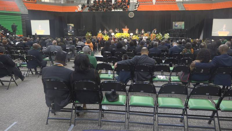 Several hundred people gathered at the Al Lawson Center at FAMU for Dr. Frederick Humphries'...