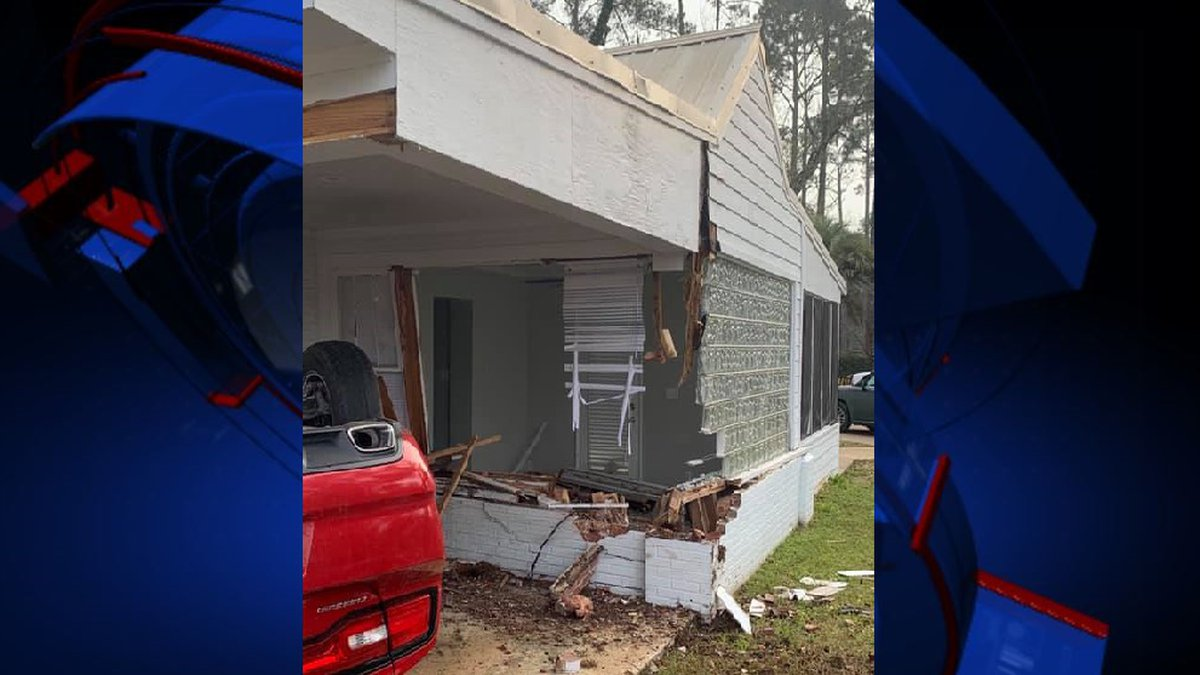 Bainbridge Public Safety officers say a car flipped and crashed into an unoccupied home Friday...