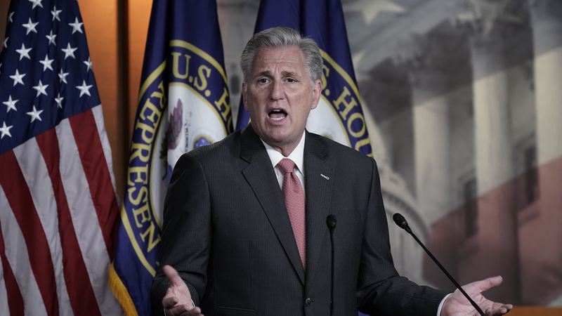 House Minority Leader Kevin McCarthy, R-Calif., talks about House Republicans and the election,...