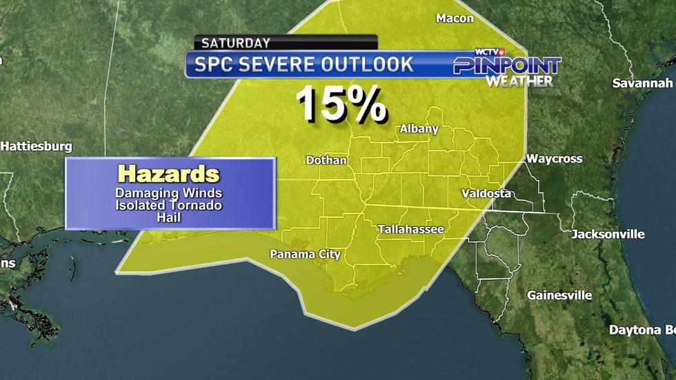 The Storm Prediction Center's severe weather outlook for Saturday, April 10 as of the afternoon...