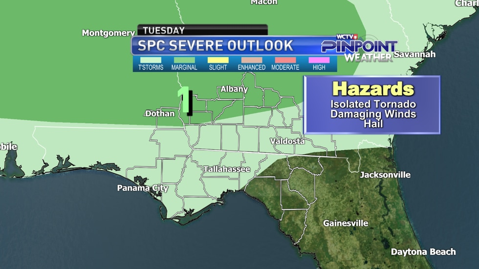 The severe weather outlook for Tuesday from the Storm Prediction Center as of Monday afternoon.