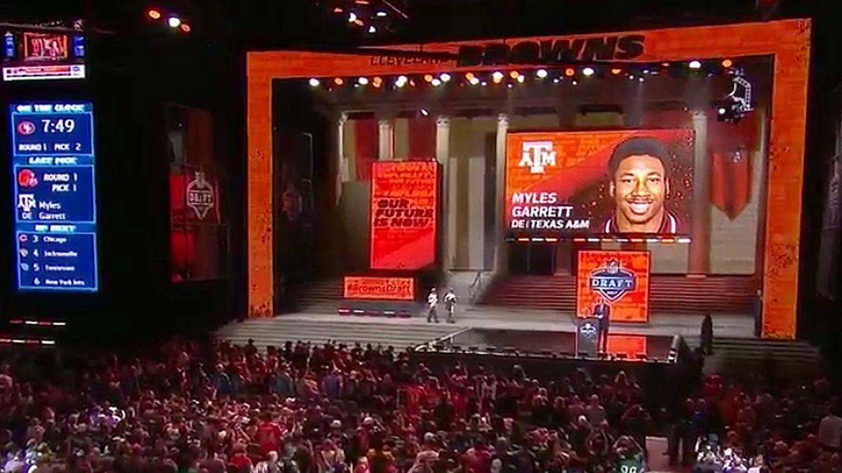 Cleveland Browns select Texas A&M Defensive Lineman Myles Garrett as the 2017 NFL #1 Draft Pick. (Photo: ESPN)