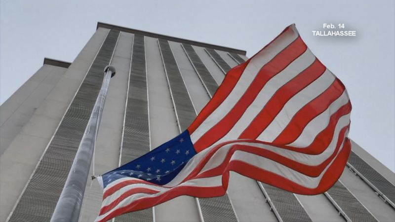Flag is at half-staff at Florida's Capitol in February 2021.
