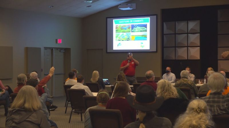 A passionate crowd asks questions to Wakulla officials during a tense public information...
