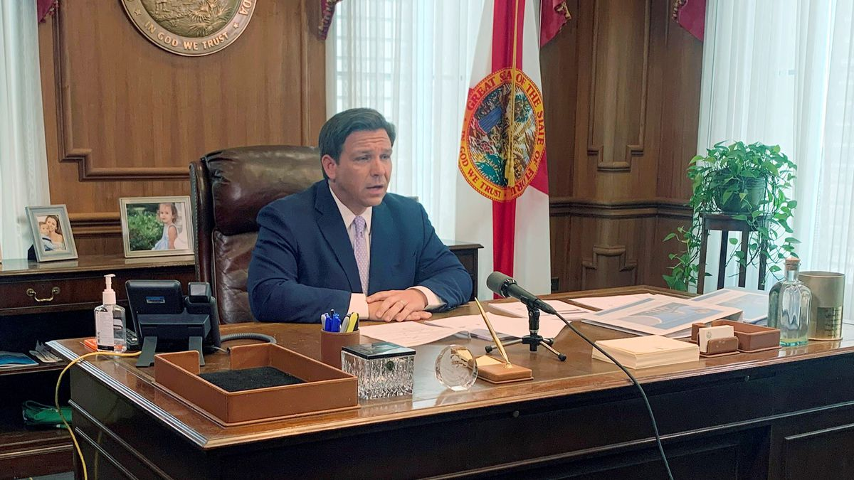 Florida Gov. Ron DeSantis speaks during a press availability, Tuesday, March 24, 2020, in Tallahassee, Fla. (AP Photo/Brendan Farrington)