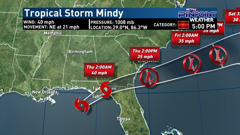 Tropical Storm Mindy - 5 p.m. advisory on Sept. 8, 2021.