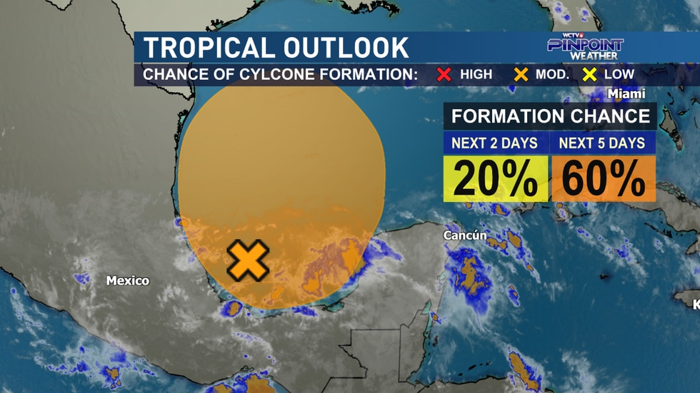 The National Hurricane Center is watching a broad area of low pressure in the Bay of Campeche...