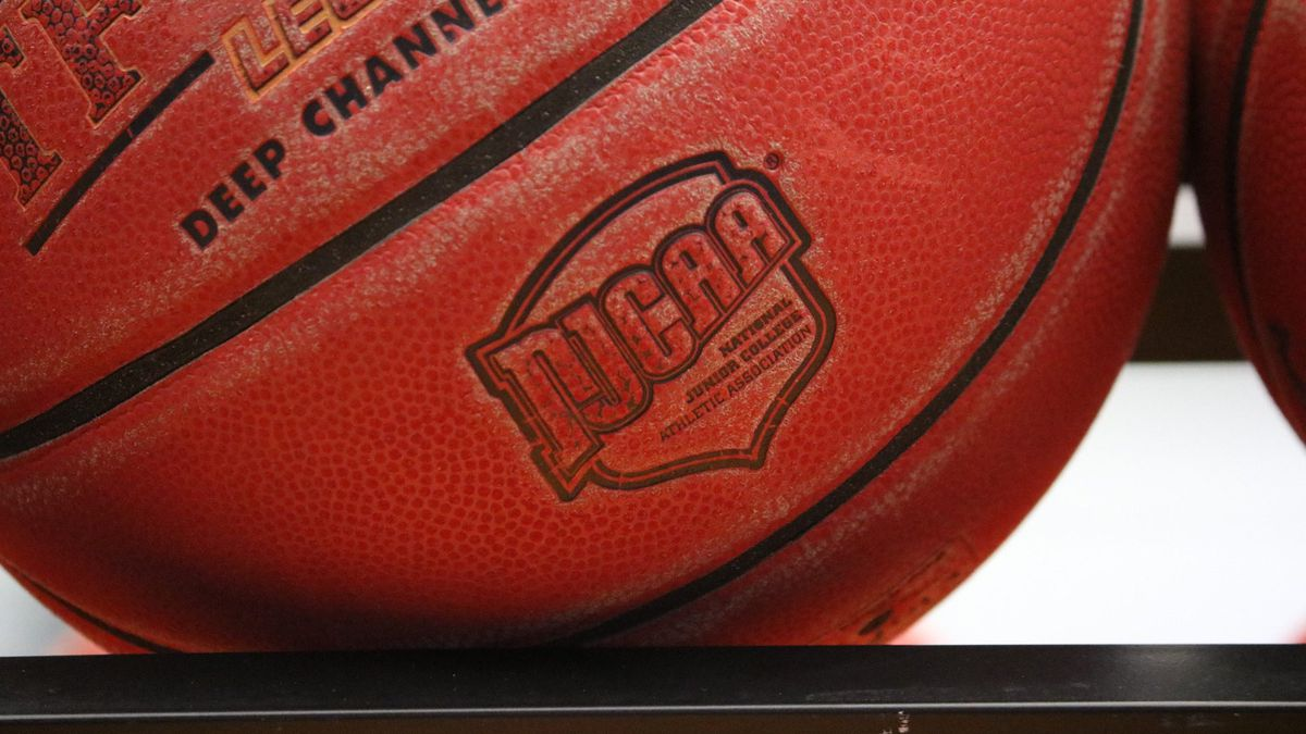 A basketball bearing the NJCAA logo, the association that Tallahassee Community College plays in.