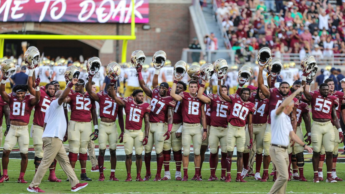 Florida State players moments before an NCAA football game against Notre Dame on Sunday, Sept....