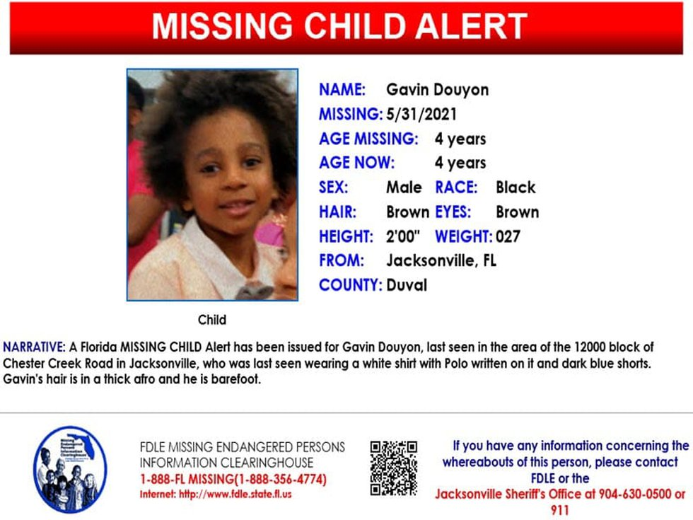 The Florida Department of Law Enforcement has issued a Missing Child Alert for Gavin Douyon, 4,...