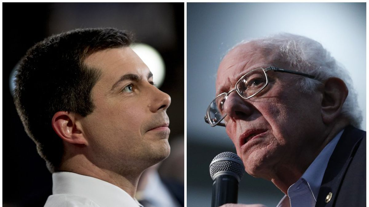 This combination of Jan. 26, 2020, photos shows at left, Democratic presidential candidate former South Bend, Ind., Mayor Pete Buttigieg on Jan. 26, 2020, in Des Moines, Iowa; and at right Democratic presidential candidate Sen. Bernie Sanders, I-Vt., in Sioux City, Iowa. After a daylong delay, partial results from Iowa's Democratic caucuses showed Buttigieg and Sanders ahead of the pack. (AP Photo)