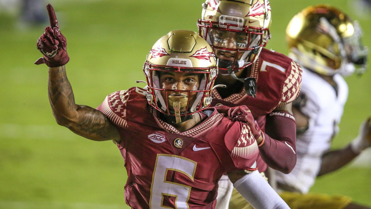 Florida State wide receiver Keyshawn Helton (6) celebrates his touchdown during the second half...