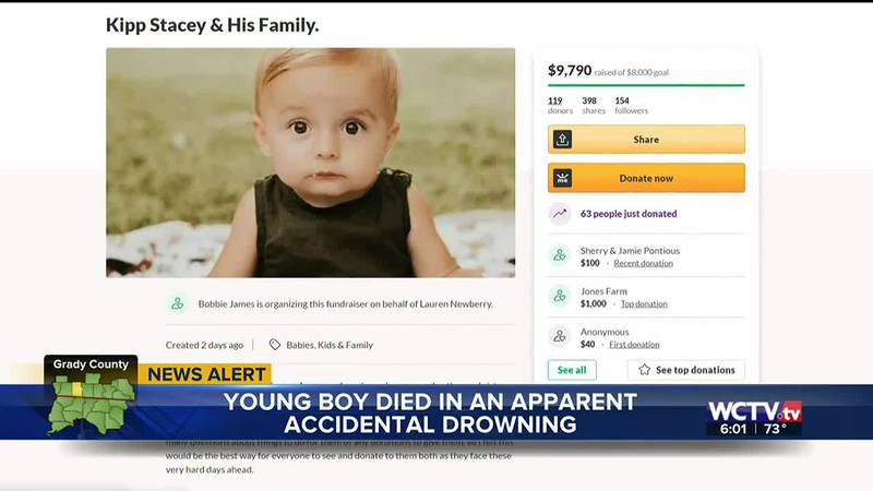 The Georgia Bureau of Investigation is investigating the drowning of a 1-year-old boy in Grady...