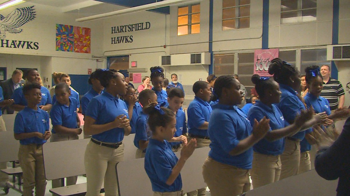 Wednesday evening, Hartsfield Elementary announced that it has raised enough money for them to...