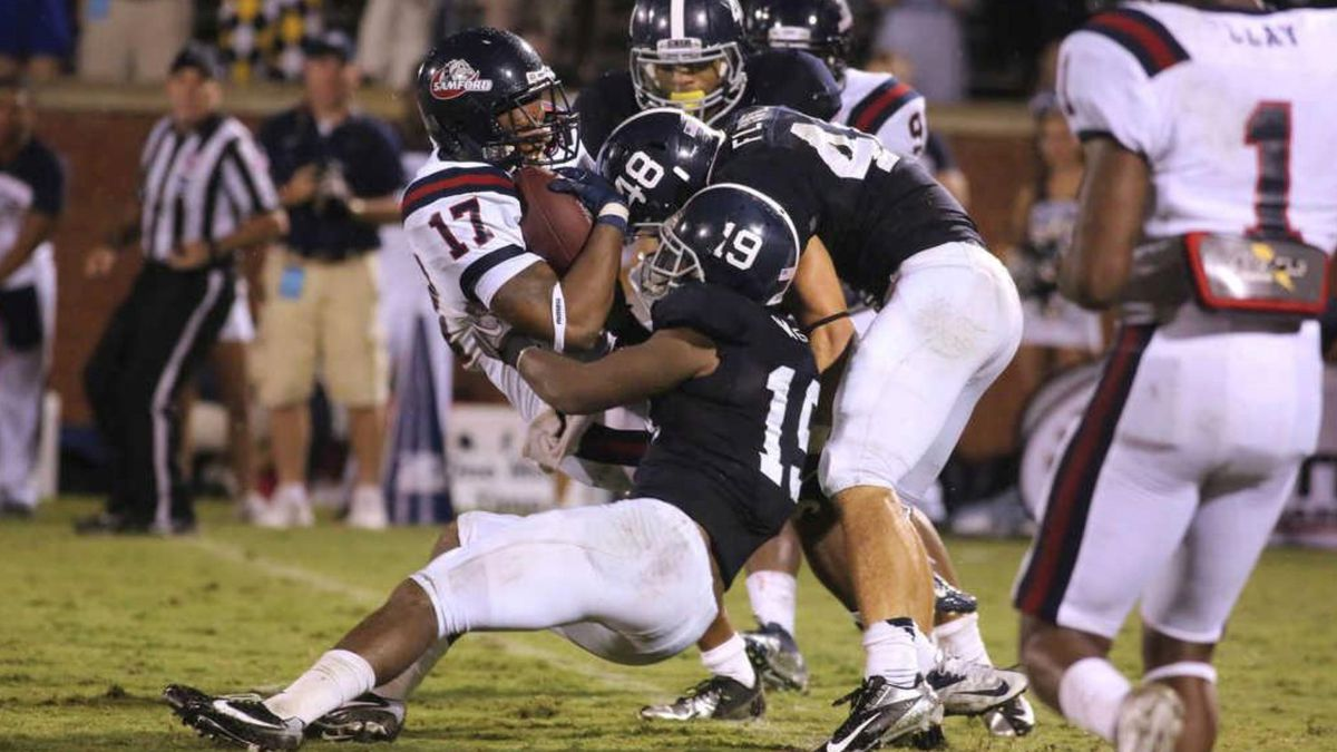 J.J. Wilcox (#19) recorded 88 tackles (second best on the team) as a senior for Georgia Southern in 2012. Courtesy: Georgia Southern Athletics
