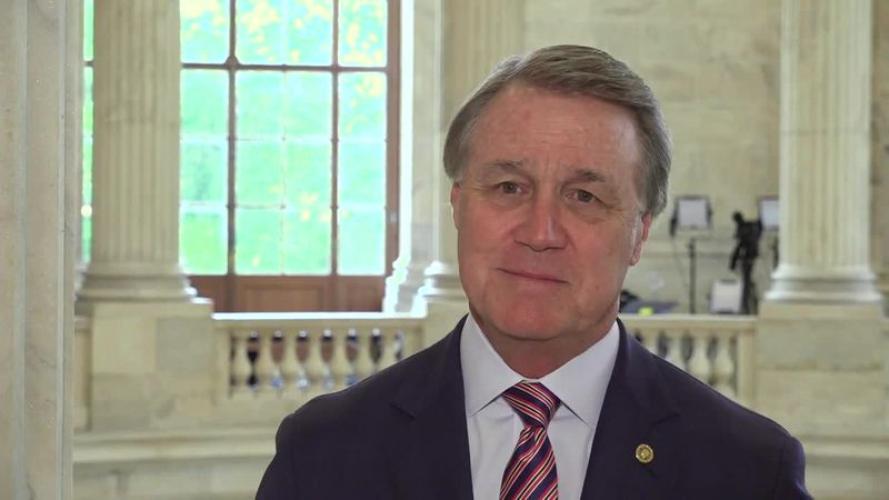 Sen. David Perdue (R-Ga.) does an interview from Capitol Hill.