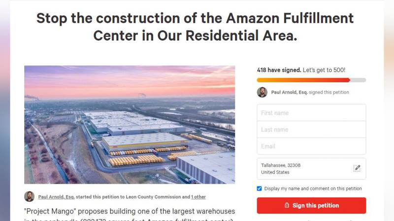 The man behind the petition is asking local leaders to stop the construction of the fulfillment...
