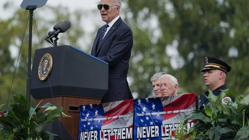 President Joe Biden speaks during a ceremony, honoring fallen law enforcement officers at the...
