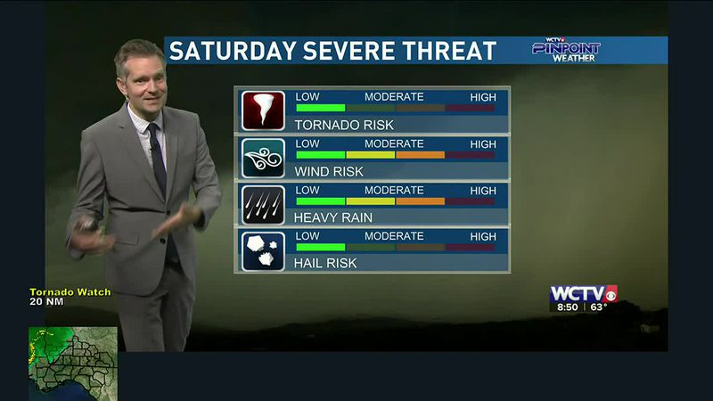 All was quiet earlier Saturday morning, but a chance of strong to severe storms exists for the...