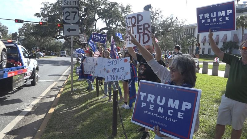 Protesters gather in Tallahassee in support of President Trump after election results were...