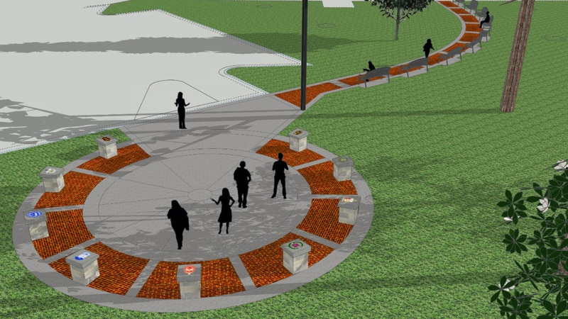 The plaza will be located near the fine arts building.