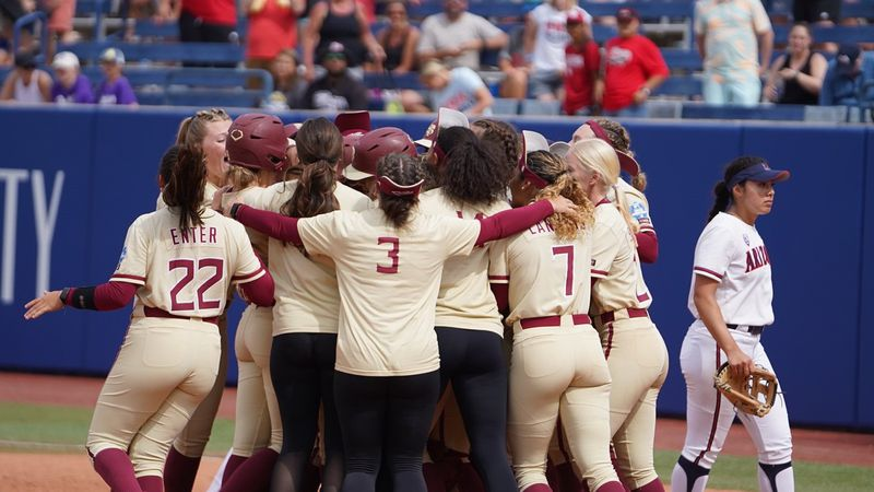 FSU celebrates after walking off against Arizona to eliminate the Wildcats in the 2021 Women's...