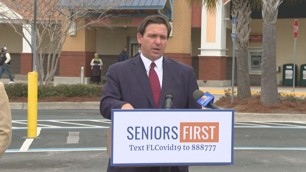 FILE PHOTO: Governor Ron DeSantis held a press conference outside of a Panama City Beach Publix...