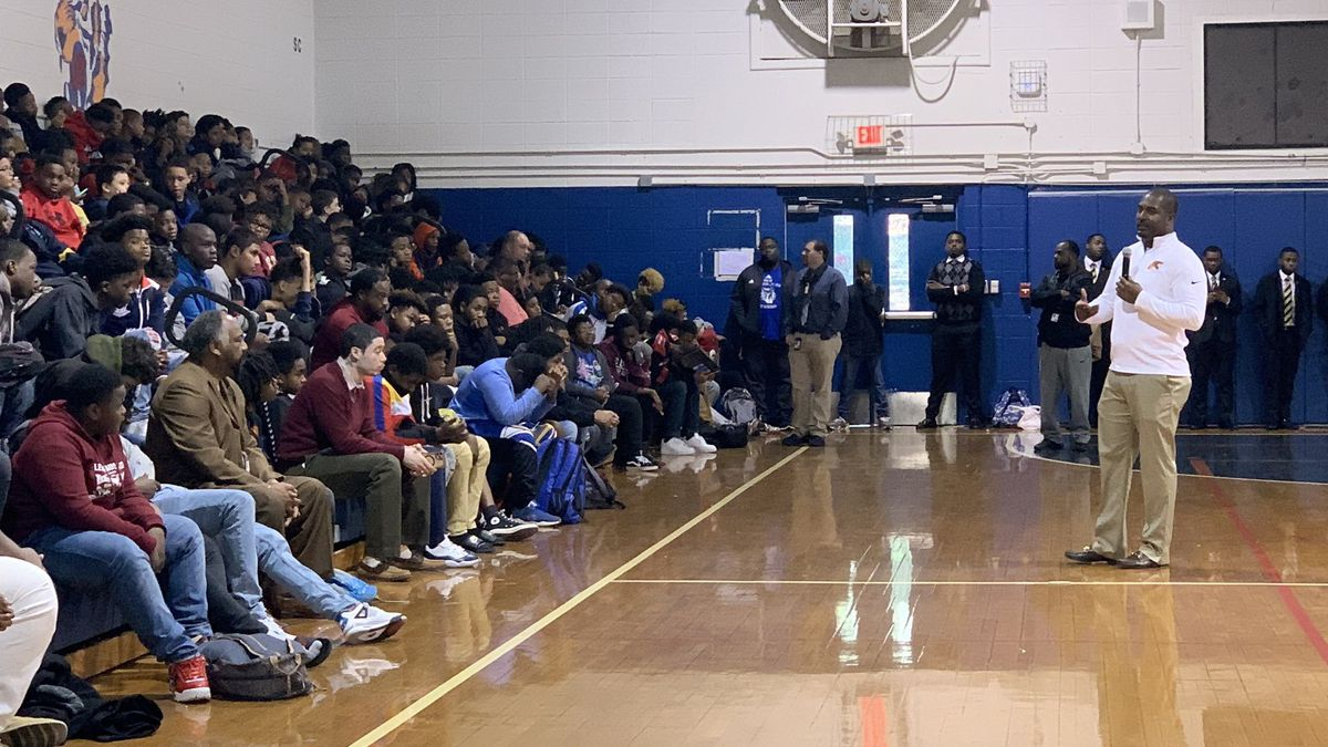 Florida A&M head football coach Willie Simmons spoke to students at Griffin Middle School about recent gun violence in the community.