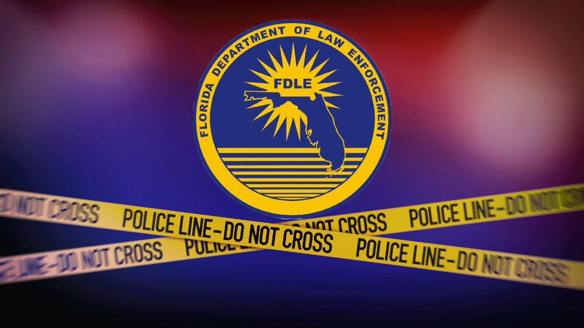 Florida Department of Law Enforcement (FDLE) logo and crime scene tape