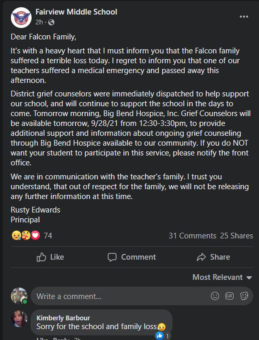 On its official Facebook, the school confirmed the death was due to a medical emergency.