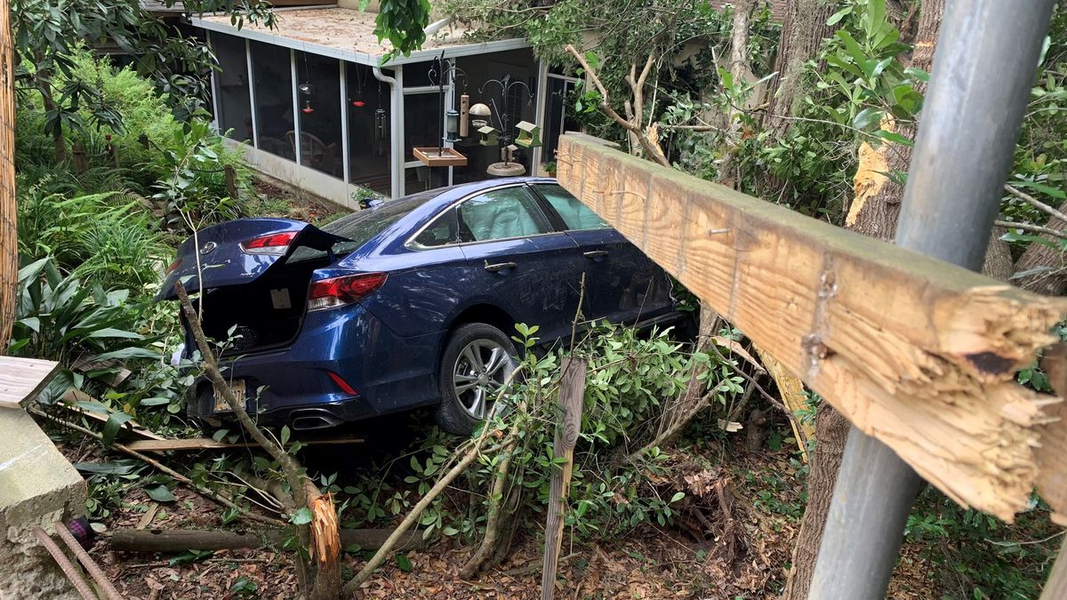 An elderly woman was taken to the hospital after she crashed a car on a private property on...