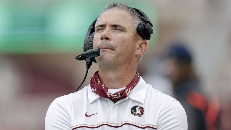 Florida State head football coach Mike Norvell on the sidelines during FSU's season opener...