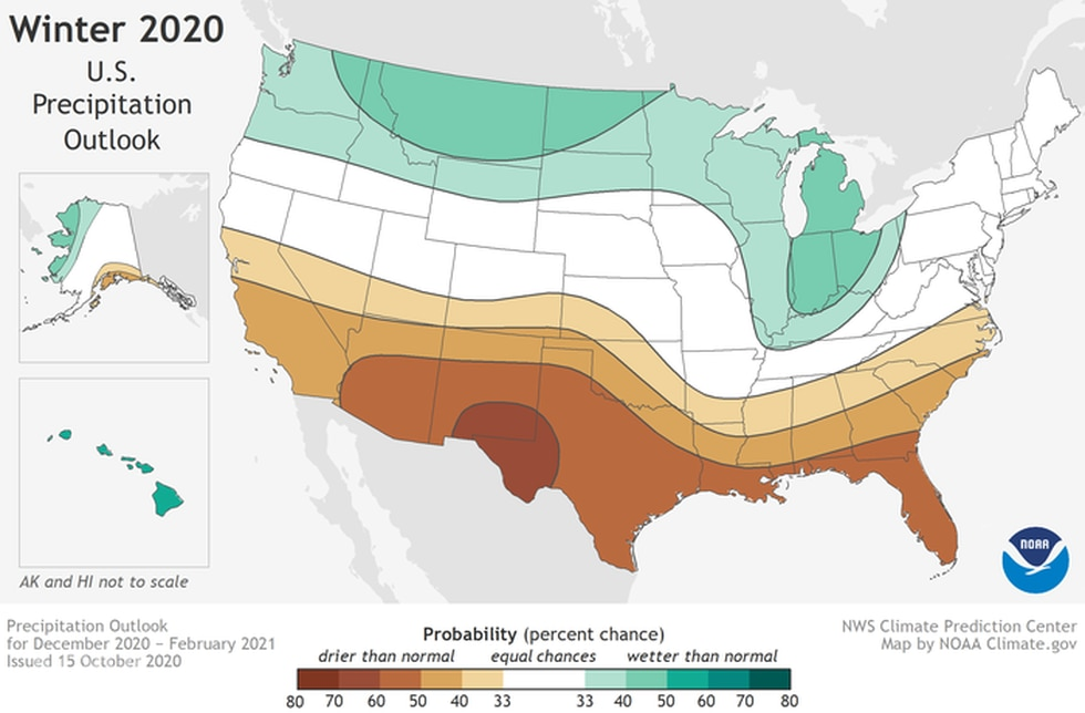 NOAA's Winter Outlook 2020-21 showing a better chance of below-normal precipitation across the South.