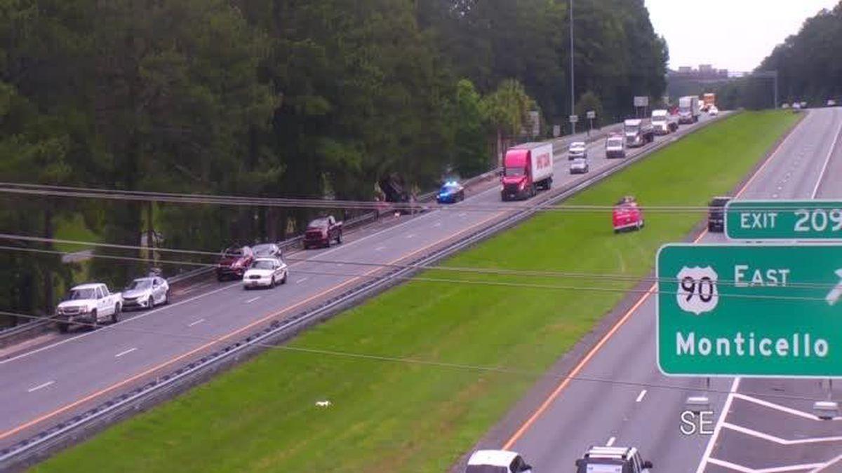 A crash on I-10 West near exit 209 has closed multiple lanes of traffic. (Photo via Florida 511...