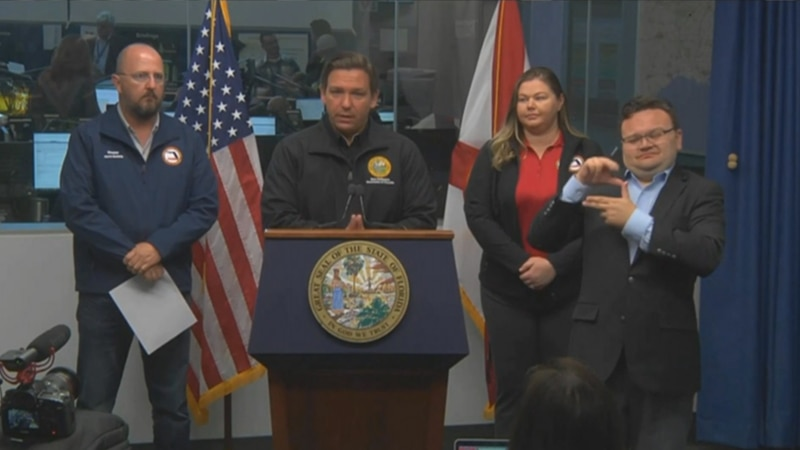 Florida Governor Ron DeSantis speaks at the Florida Emergency Operations Center ahead of...